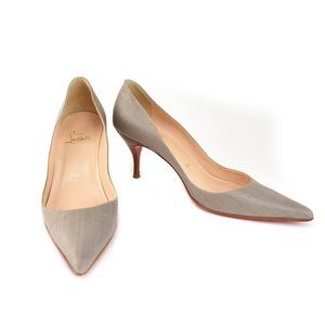 """LOUBOUTIN """"Clare 70"""": Gray, Woven Canvas Heels"""